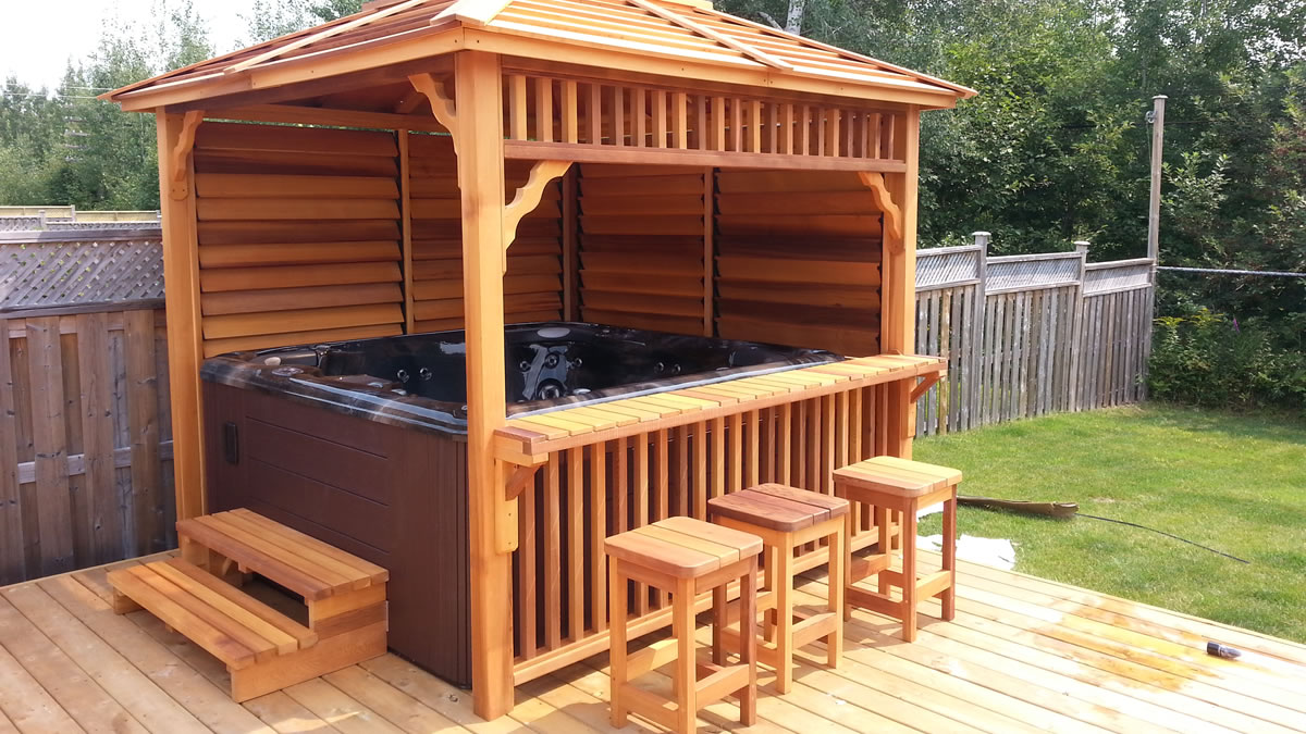 Hot tub enclosures gazebos canopies chalets barn for Free standing hot tub deck