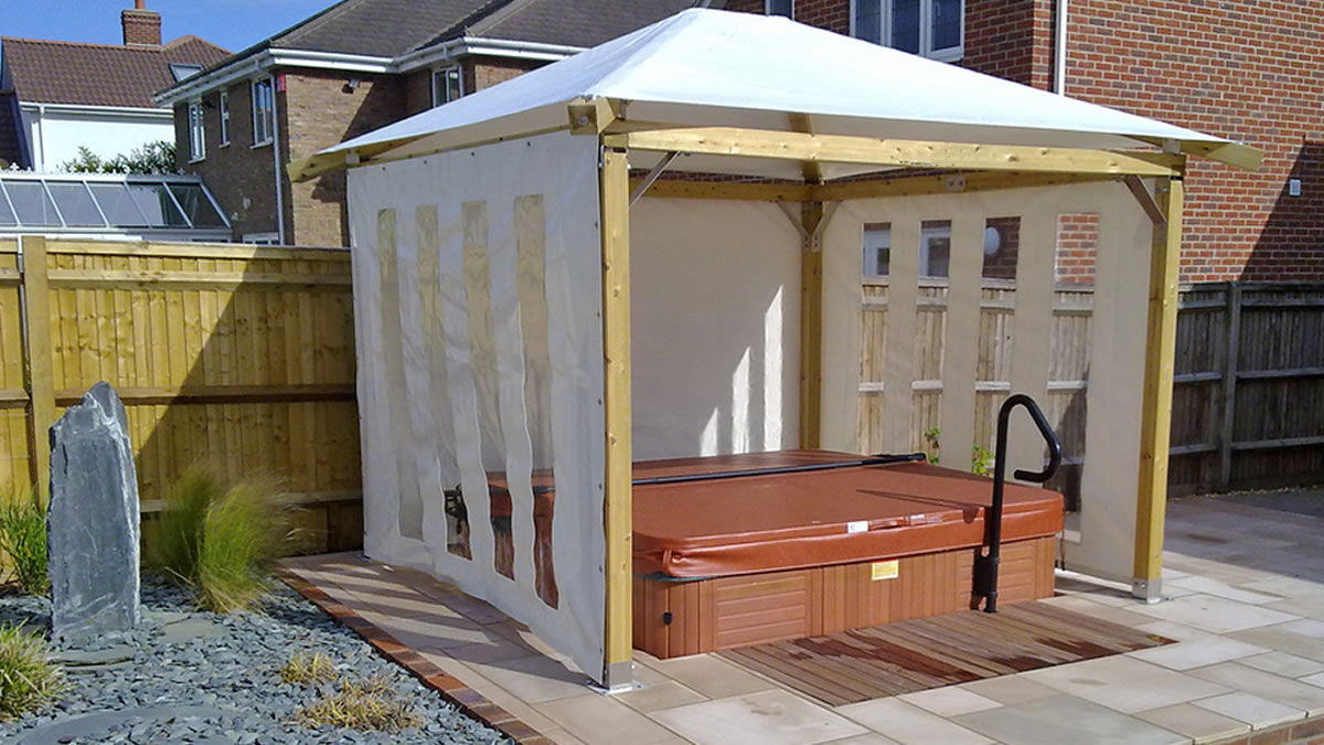 Hot tub enclosures gazebos canopies chalets barn for Hot tub enclosures plans
